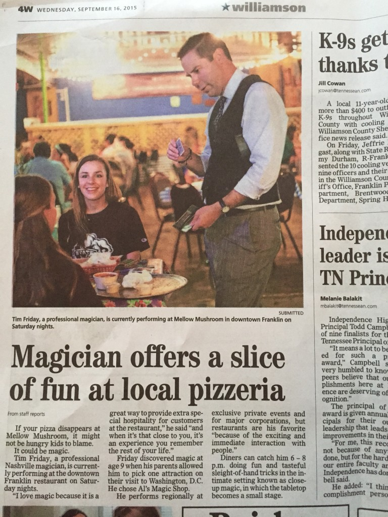 Nashville Magician Tim Friday covered by the Tennessean