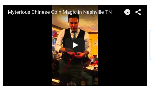 Amazing Nashville Magician Tim Friday performs a trick at Coco's Italian Market